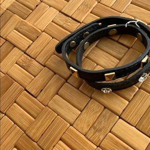 Leather wrap bracelet with stones